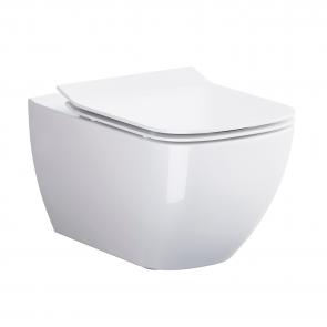OPOCZNO METROPOLITAN Zestaw Toaleta WC podwieszana 55,5z36 cm Clean On z ukrytym mocowaniem z deską sedesową